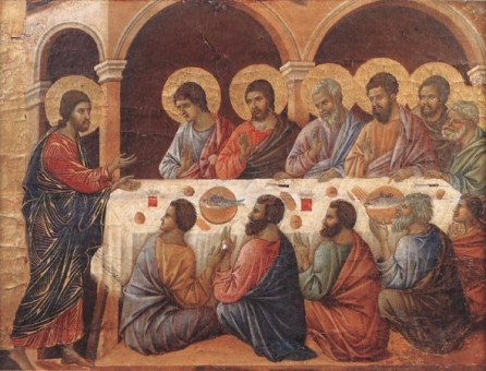 Jesus holding a meeting with his apostles