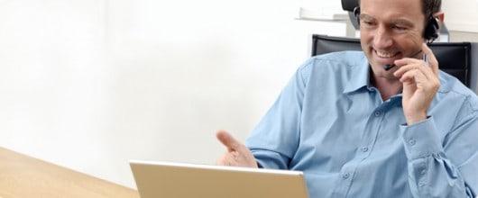 Man in an online meeting